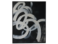 "LivingStyles ""Black Twirl"" Framed Hand Painted Abstract Canvas Wall Art, No.1, 106cm"