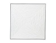 "LivingStyles ""White Vortex"" Framed Hand Painted Abstract Canvas Wall Art, 68cm"