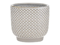 LivingStyles Alina Ceramic Pot, Cream