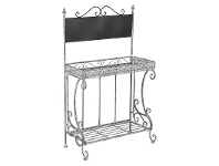 LivingStyles Baroque Metal Planter Stand with Blackboard