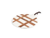 LivingStyles Eliot Mango Wood Inlaid Marble Round Cutting / Serving Board, 30x25cm