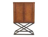 LivingStyles Tividale Aged Leather & Steel Cocktail Cabinet