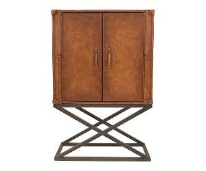Tividale Aged Leather & Steel Cocktail Cabinet