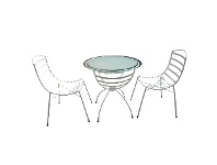 LivingStyles Sarah 3 Piece Glass Topped Metal Outdoor Round Garden Table Set