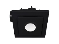 LivingStyles Emeline II 240 Ceiling Exhaust Fan with LED Light, Square, Black
