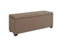 Boston Fabric Blanket Box, Buttoned Top, Oat Brown