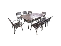 LivingStyles Carly 9 Piece Cast Aluminium Outdoor Dining Table Set, 216cm