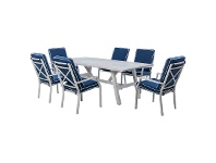 LivingStyles Portsea 7 Piece Aluminium Outdoor Dining Table Set, 220cm, White / Navy