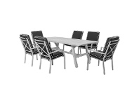 LivingStyles Portsea 7 Piece Aluminium Outdoor Dining Table Set, 220cm, White / Dark Grey