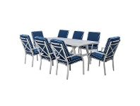LivingStyles Portsea 9 Piece Aluminium Outdoor Dining Table Set, 285cm, White / Navy
