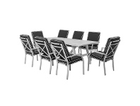 LivingStyles Portsea 9 Piece Aluminium Outdoor Dining Table Set, 285cm, White / Dark Grey