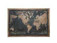 LivingStyles Map of The World Framed Canvas Wall Art Print with LED, 180cm, Black