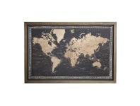 LivingStyles Borded Map of The World Framed Canvas Wall Art Print with LED, 120cm, Black