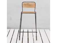 LivingStyles Essex St. Commercial Grade Metal Bar Stool with Timber Seat