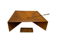 LivingStyles Fuji Cast Iron Square Fire Pit with Ash Tray