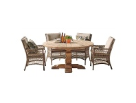 LivingStyles Wisconsin 7 Piece Eucalyptus Timber & Wicker Outdoor Round Dining Table Set, 150cm