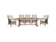 LivingStyles Wisconsin 9 Piece Eucalyptus Timber & Wicker Outdoor Dining Table Set, 260cm