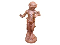 LivingStyles Child & Butterfly Cast Iron Garden Statue