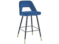 LivingStyles Delphi Velvet Fabric Counter Stool, Blue