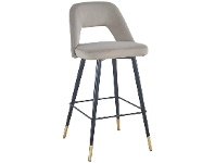 LivingStyles Delphi Velvet Fabric Counter Stool, Light Grey
