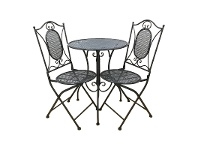 LivingStyles Vincent 3 Piece Metal Garden Table Set, Charcoal