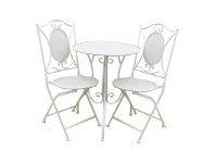 LivingStyles Vincent 3 Piece Metal Garden Table Set, White