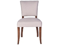 LivingStyles Ditton Linen Fabric Dining Chair, Cream / Maroon