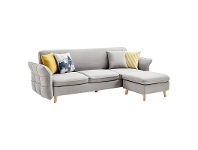 LivingStyles Erik Fabric Clic Clac Sofa Bed, 3 Seater with Ottoman, Light Grey