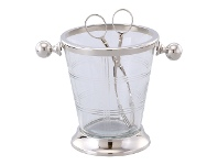LivingStyles Marquess Metal & Glass Ice Bucket & Tong Set