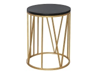 LivingStyles Shelby Marble Topped Iron Round Side Table
