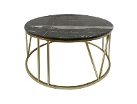 LivingStyles Shelby Marble Topped Iron Round Coffee Table, 70cm