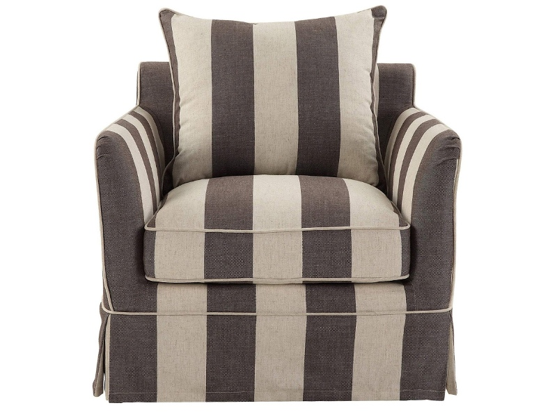 Noosa Fabric Armchair Cover (Cover Only), Charcoal / Cream Stripe