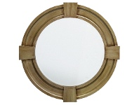 LivingStyles Massey Wood Frame Round Wall Mirror, 80cm