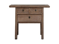 LivingStyles Xiangtai Reclaimed Elm Timber Antique Oriental 3 Drawer Hall Table, 100cm