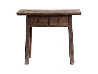 LivingStyles Yuntai Reclaimed Elm Timber Antique Oriental 2 Drawer Console Table, No.1131, 101cm