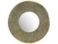 LivingStyles Safi Metal Frame Round Wall Mirror, 100cm, Antique Gold