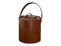 LivingStyles Winston Leather & Stainless Steel Ice Bucket with Tongs