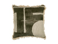 LivingStyles Preston Printed Fabric Scatter Cushion, Olive / Cream