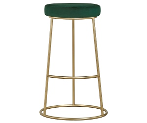 Xyla Metal Counter Stool, Green Velvet Seat