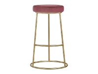 LivingStyles Xyla Metal Counter Stool, Pink Velvet Seat