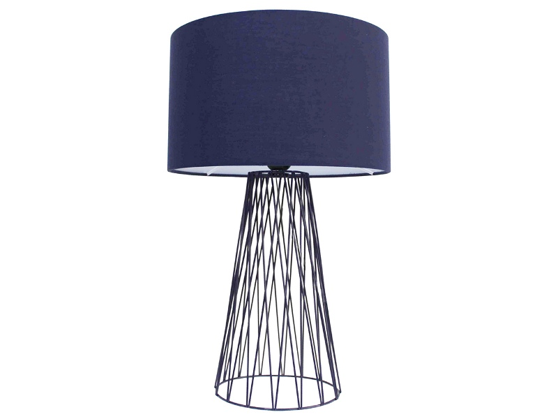 Albus Metal Wire Base Table Lamp, Navy