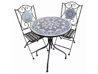 LivingStyles Belford 3 Piece Mosaic Metal Balcony Table & Chair Set