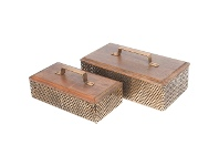 LivingStyles Luxe Timber & Iron 2 Piece Storage Box Set