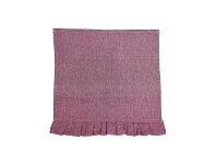 LivingStyles Chambray Cotton Frill Napkin, Red