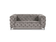 LivingStyles Shanay Tufted Velvet Fabric Sofa, 2 Seater, Grey