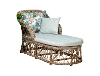 LivingStyles Nassau Rattan Chaise / Daybed, 160cm, Natural / Seafoam