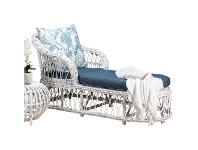 LivingStyles Nassau Rattan Chaise / Daybed, 160cm, White Wash / Blue Floral