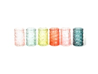 LivingStyles Shelley 6 Piece Embossed Glass Jar Set