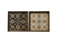LivingStyles Editha 2 Piece Vintage Wooden Square Tray Set