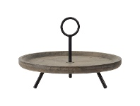 LivingStyles Mercator Fir Timber & Metal Round Tray Stand